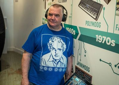 Peter Churchyard with Timeline of Synthesis Moogseum Gallery Image